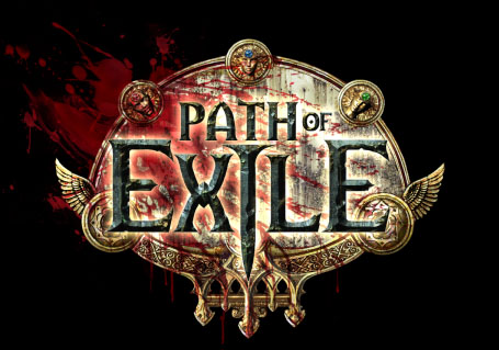 The logo for the Path of Exile: a small, ornate golden plate with the title's words over top of it and a smear of blood on one edge.
