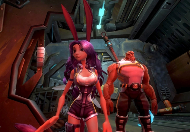 A petite, white woman with giant bunny ears and an exaggeratted hour-glass figure stands in the fore-ground of a spaceship's interior. In the background is a large, muscular man that looks to be made of rock.
