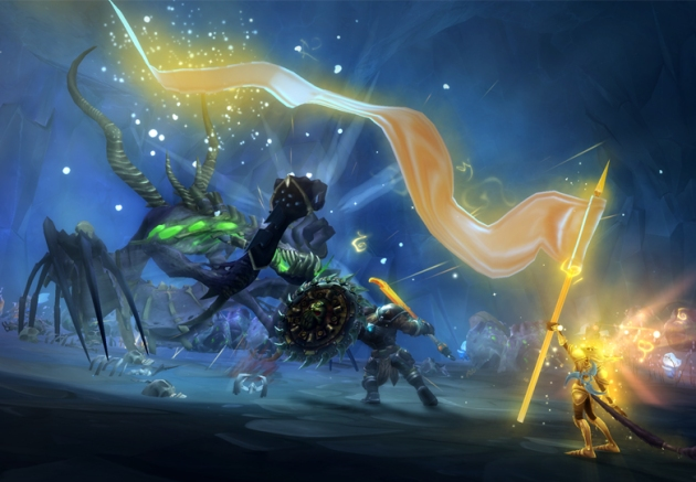 Two figures, one with a streaming banner of light and the other with a giant shield and sword, fight a giant monster with spindly limbs.