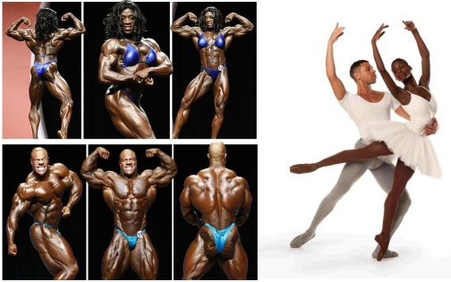 The two 2012 Olmpyia Bodybuilding Champions and two ballet preformers from the Dance Theatre of Harlem