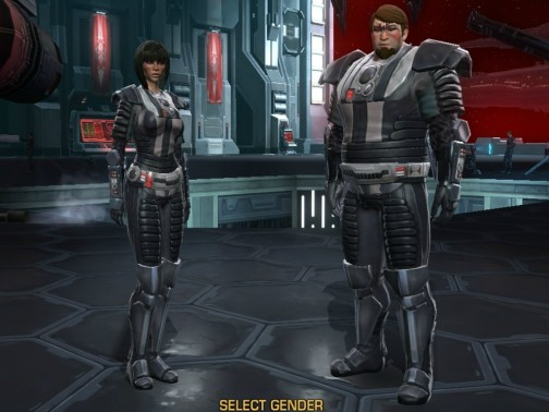 The heaviest body type options for female and male characters in SWTOR